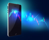 Stock market application on touchscreen smartphone with clipping path Royalty Free Stock Photo