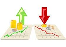 Stock market with arrows Stock Photos