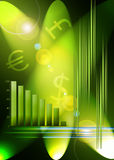 Stock Market background. A green based abstract background with generic graph and money symbols. Stock market based Royalty Free Stock Photos