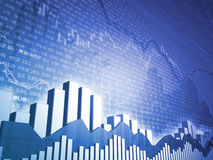 Stock market bars & charts with finance data. An abstract computer generated background showing Stock Market bars and graphs with 3D pie chart Stock Photos