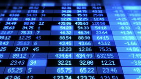 Stock Market board moving. Blue color. Looped animation. HD 1080 stock footage