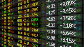 Stock Market board moving up. HD 1080. Looped animation stock footage