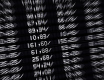 Stock market board. Showing different stock prices Stock Photos
