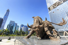 Stock market building in Shenzhen. Shenzhen, China - August 19,2015: Stock market building in Shenzhen, one of the three stock markets in China, with the copper stock photo