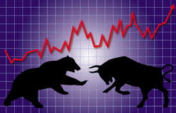 Stock Market Bull & Bear Royalty Free Stock Image