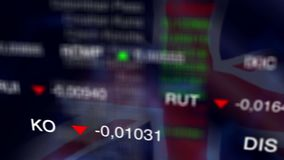 Stock Market Business Background with UK flag. Stock market chart, Stock market data on LED display concept. Busness Background with UK flag. Loop stock video footage