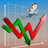 Stock market with businessman Royalty Free Stock Photo