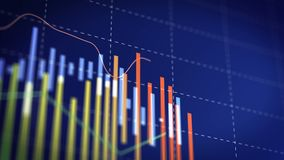 Stock market candle indice on info wall, investor background financial detail. Stock footage stock video