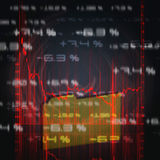 Stock market chart. Illustration of the red stock market chart Stock Photo