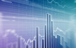 Stock Market Chart. Stock market graph on blue background Royalty Free Stock Photography