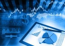 Stock market chart analysis. 3d render Royalty Free Stock Photo