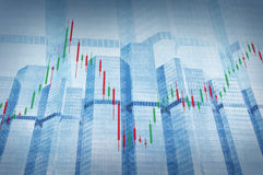 Stock Market Chart on Blue Tower Royalty Free Stock Photography