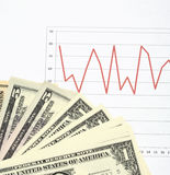 Stock market chart with cash Stock Photo