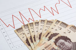 Stock market chart with cash royalty free stock photo