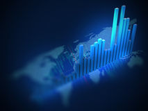 Stock market chart  on digital world map 3d illustration Royalty Free Stock Image