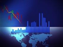 Stock market chart  on digital world map 3dillustration Royalty Free Stock Image