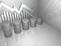 Stock Market Chart with Five Oil Drums Stock Photo
