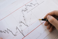 Stock market chart on Forex Charts and money Live online screen. Stock Images