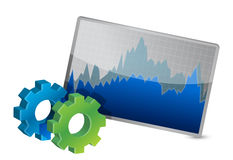 Stock Market Chart and gears Royalty Free Stock Photos
