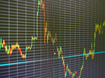 Stock market chart, graph on black background. Stock Photography