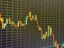 Stock market chart, graph on black background. Stock Photos
