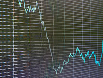 Stock market chart, graph on black background. Stock Images