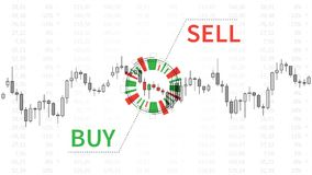 Stock market chart with graphic elements vector illustration. Financial forex trade candlestick graph with words buy and sell creative concept. Buy or sell Stock Photo