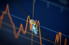 Stock market chart. On LCD screen. Selective focus stock images