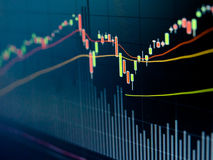 Stock Market Chart. On led screen Royalty Free Stock Photography