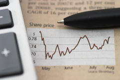 Stock market chart, with pen, closeup. Stock chart analysis, calculator, with pen, horizontal orientation. charts, analysis, ups and downs, close up Royalty Free Stock Photo