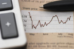 Stock market chart, with pen, closeup Stock Image