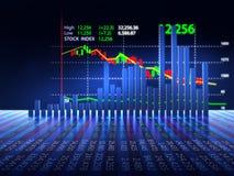 Stock market chart  on reflective surface 3dillustration Royalty Free Stock Photo