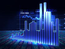 Stock market chart  on reflective surface 3dillustration Stock Images
