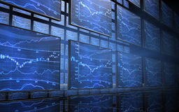 Stock Market Chart Screens Royalty Free Stock Photos