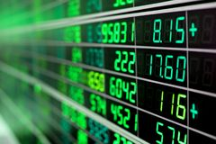 Stock market chart. Or stock market board with green numbers stock images