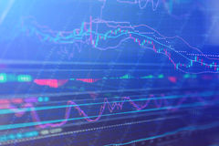 Stock market chart, Stock market data in blue on LED display con. Financial Stock market chart, Stock market data in blue on LED display concept Stock Images