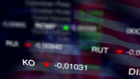 Stock Market Business Background with USA flag. Stock market chart, Stock market data on LED display concept. Busness Background with USA flag. Loop stock video