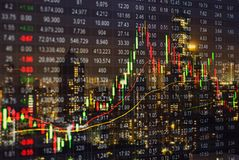 Stock market chart, Stock market data on LED display concept wit. H night city blur background. financial concept Stock Image