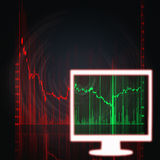 Stock market chart in white monitor. Illustration of the red and green stock market chart Stock Images