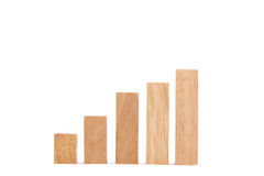 Stock Market Chart with the wood game (jenga) Royalty Free Stock Images