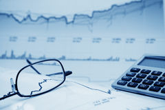 Financial graphs and charts accounting Stock Photography