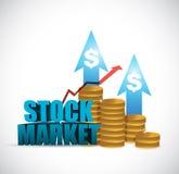 Stock market coin up graph illustration design Stock Photos