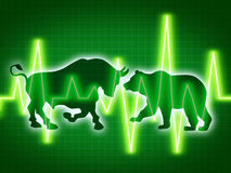 Stock Market Concept. Of the animal symbols for buy and sell as a bull and bear for bullish and bearish business and financial trading of investments in Stock Images