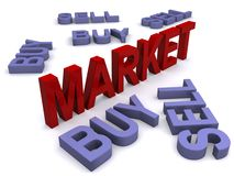 Stock market concept. 3D multiple text of the words buy and sell arranged randomly, with the word market in upright 3D red letters in the center Stock Photo