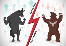 Stock market concept bull and bear Royalty Free Stock Photography