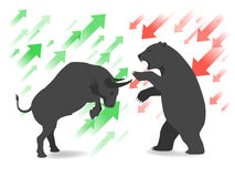 Stock market concept bull and bear. Are facing and fighting Stock Images