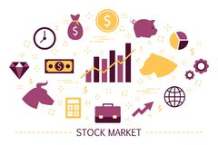 Stock market concept. Bull and bear strategy. Financial stock illustration