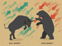 Stock market concept bull and bear. Stock market concept bull vs bear are facing and fighting on brown paper background Royalty Free Stock Images