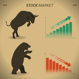 Stock market concept bull vs bear are facing and fighting on bro. Wn paper background with downtrend and uptrend graph Royalty Free Stock Images