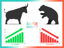 Stock market concept bull vs bear are facing and fighting on whi. Te background with downtrend and uptrend graph Stock Image